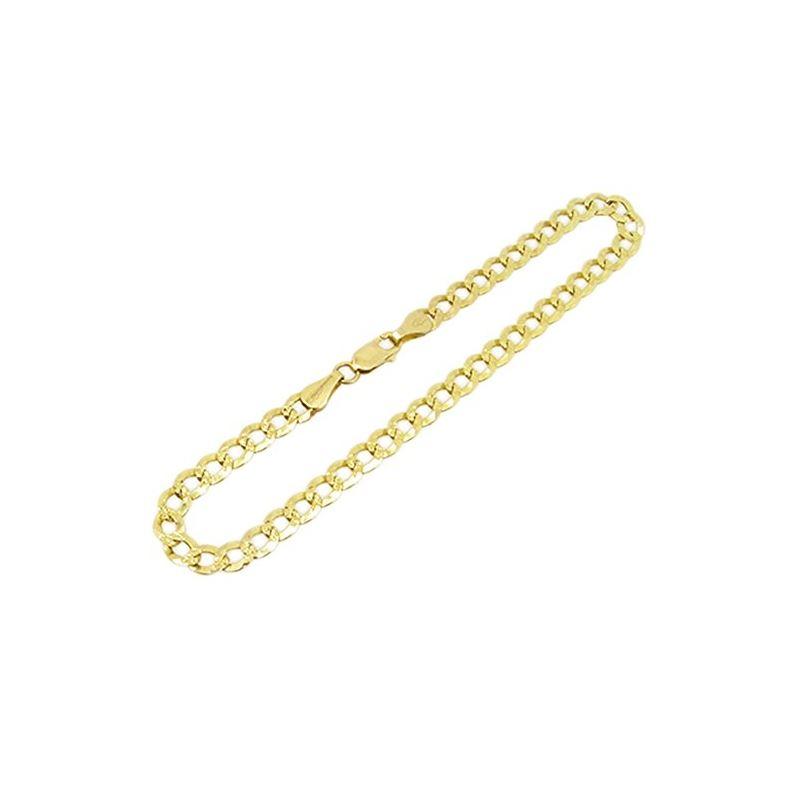Mens 10k Yellow Gold diamond cut figaro cuban mari