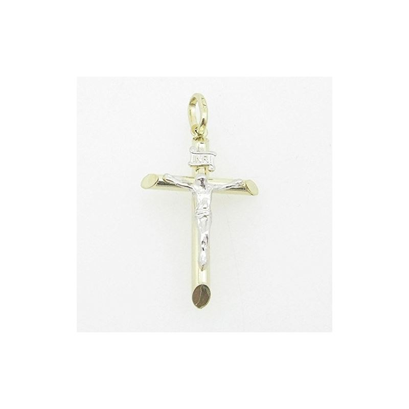 Mens 10K Solid Yellow Gold white jesus c 77161 1