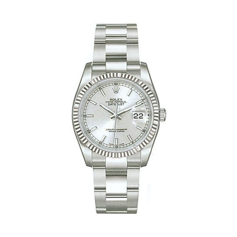 Rolex Datejust Silver Index Dial 18k White Gold Fl