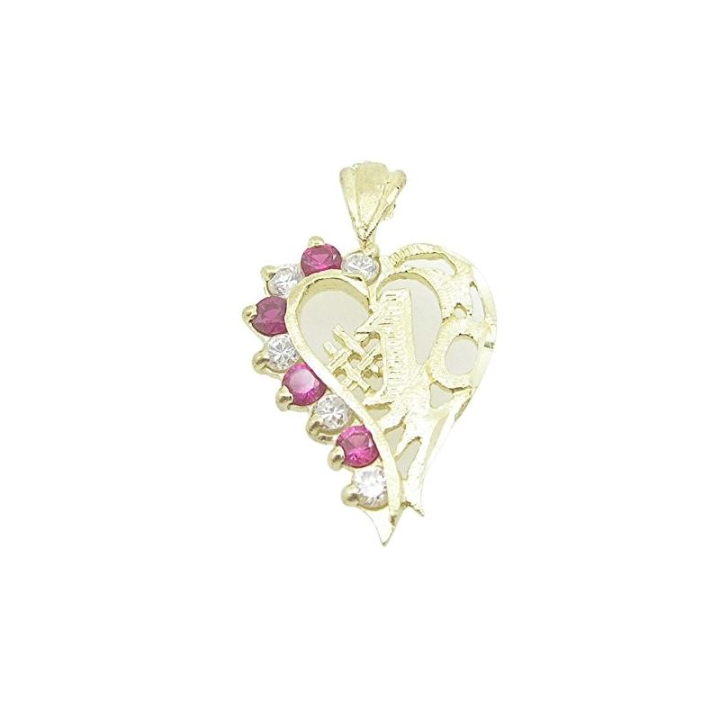 Ladies 10K Solid Yellow Gold 1 Mom Heart Pendant L