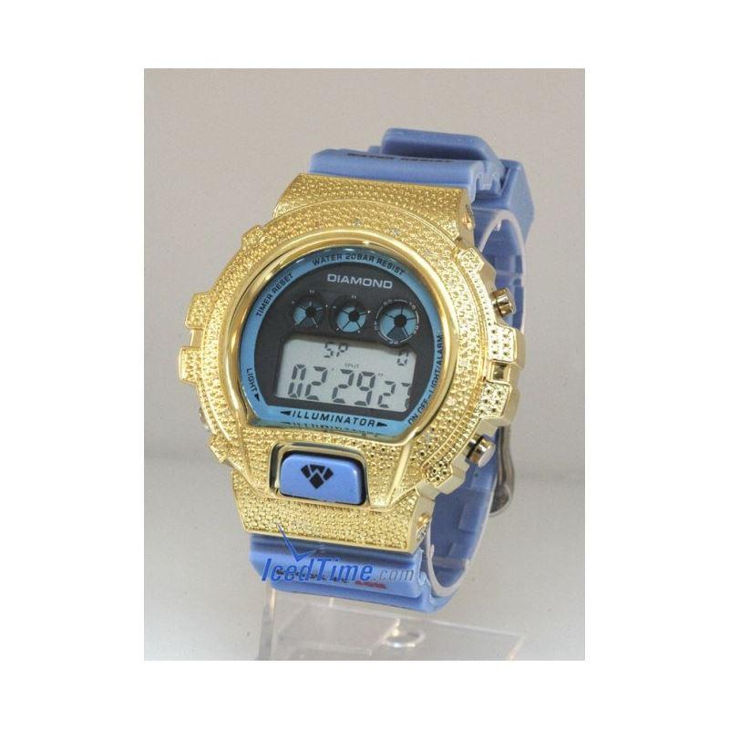 Aqua Master Shock Diamond Mens Yellow Watch