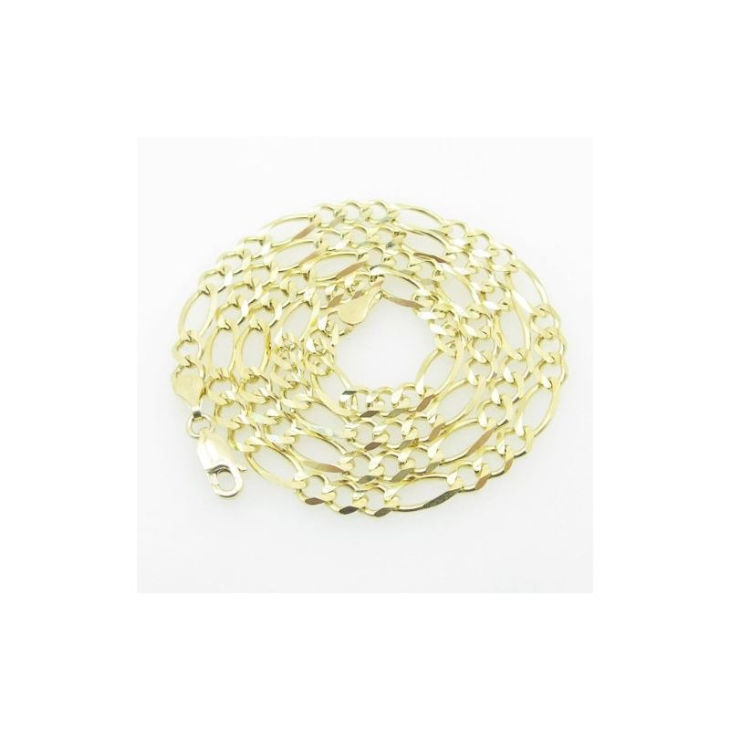 Mens Yellow-Gold Figaro Link Chain Length - 18 inc