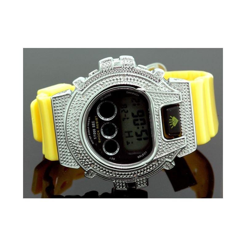 Ice Plus Mens Diamond Shock Style Watch White Case