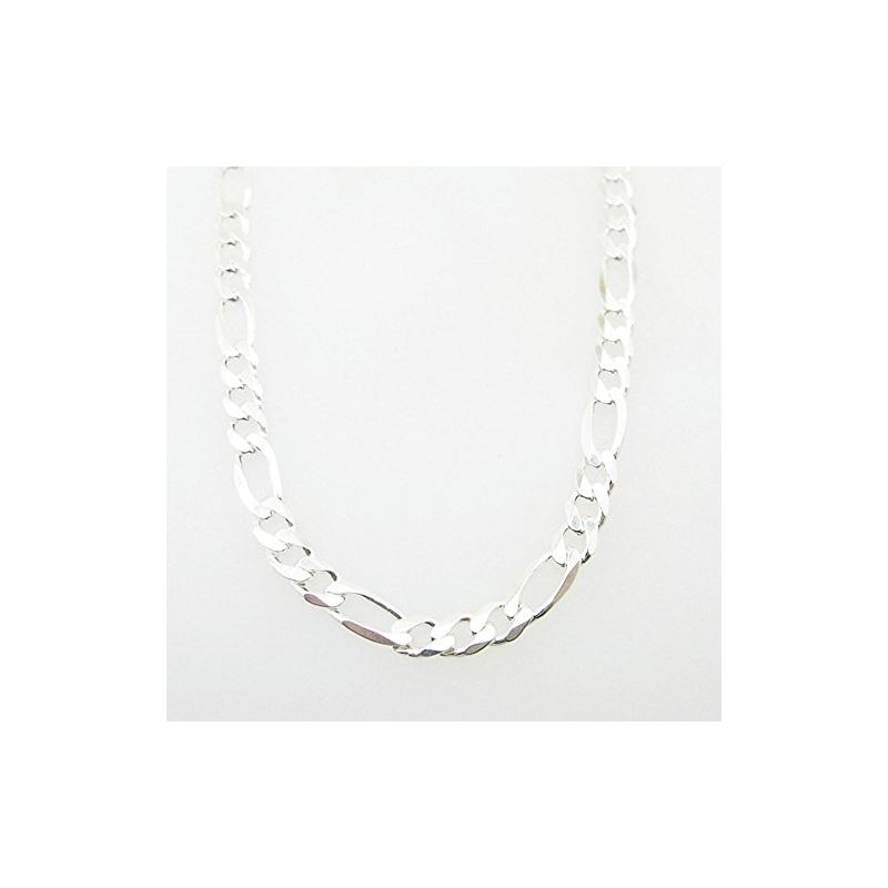 Silver Figaro link chain Necklace BDC69