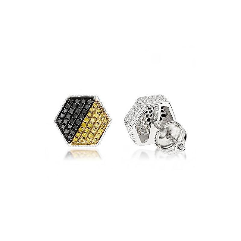 Yellow Black Diamond Earrings Sterling S 84760 1