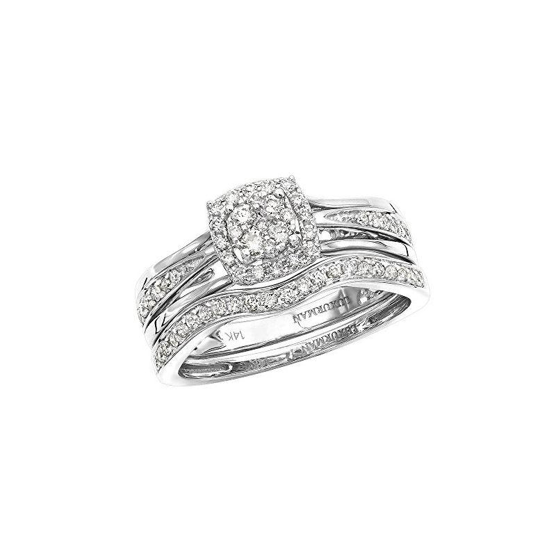 Affordable 14K Gold Diamond Engagement Ring Set We