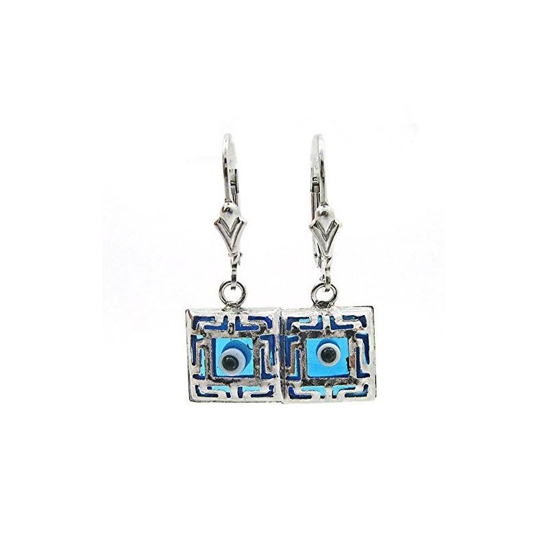 925 Sterling Silver Evil Eye Dangle Earrings