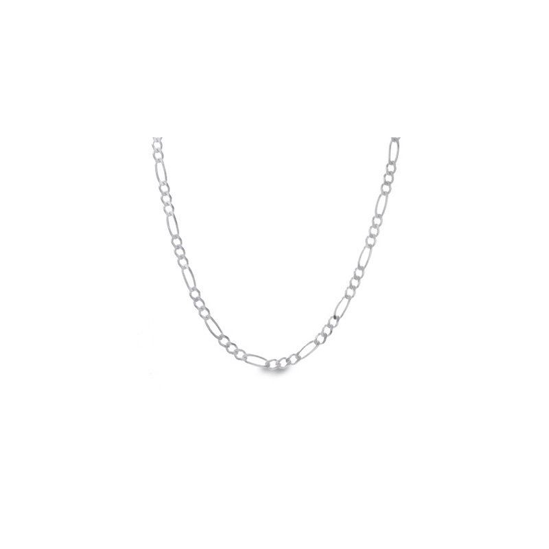 Silver Figaro link chain Necklace BDC62