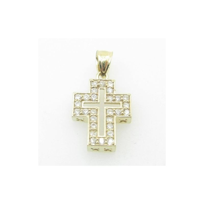 Unisex 10K Solid Yellow Gold hollow cros 81109 1