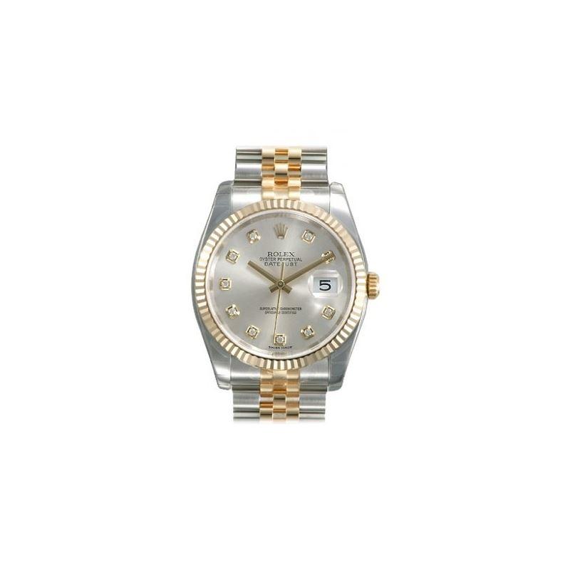 Rolex Datejust Silver Diamond Dial Jubilee Bracele